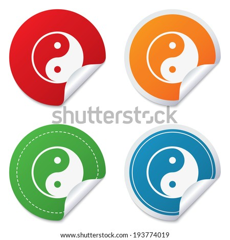 Ying yang sign icon. Harmony and balance symbol. Round stickers. Circle labels with shadows. Curved corner.