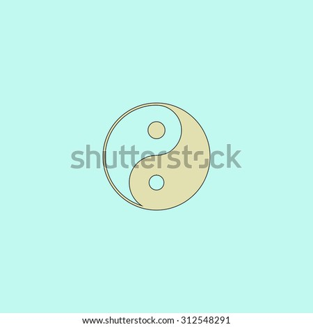 Ying yang symbol of harmony and balance. Flat simple line icon. Retro color modern illustration pictogram. Collection concept symbol for infographic project and logo - stock photo