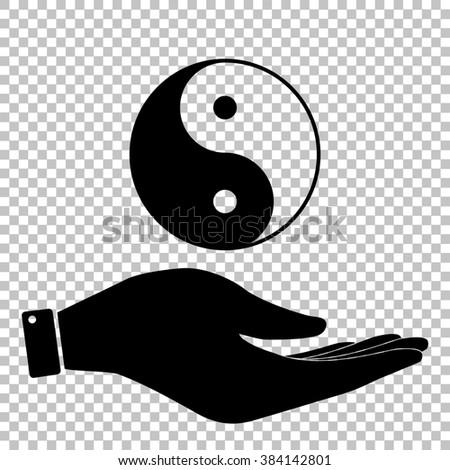 Ying yang symbol of harmony and balance. Flat style icon. Black illustration. - stock photo