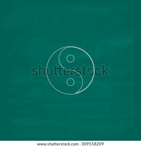 Ying yang symbol of harmony and balance. Outline icon. Imitation draw with white chalk on green chalkboard. Flat Pictogram and School board background. Illustration symbol - stock photo