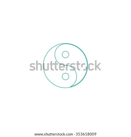 Ying yang symbol of harmony and balance. Outline symbol on white background. Simple line icon