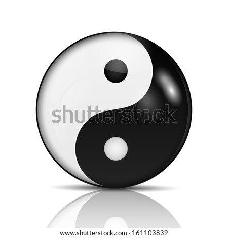 Ying yang symbol of harmony and balance.raster - stock photo