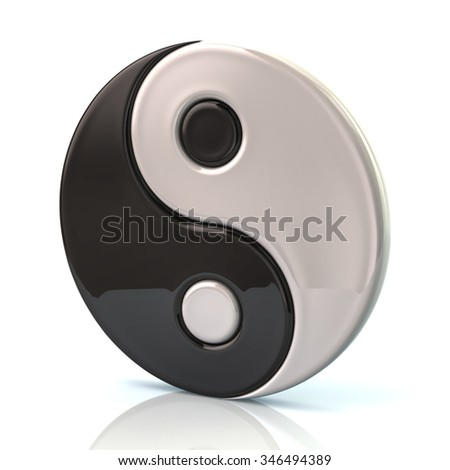 Ying yang symbol of harmony isolated on white background - stock photo