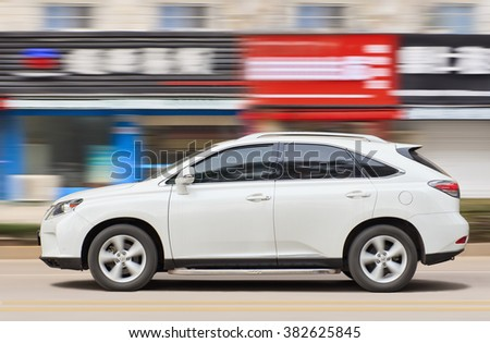 YIWU-CHINA-JANUARY. 20, 2016. Lexus RX270 SUV. On the contrary of BMW, Mercedes-Benz and Audi, Lexus producing cars still in Japan. They will favor made-in-Japan vehicles as a guarantee of quality. - stock photo
