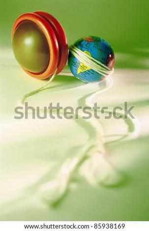 Yo-yo on Green Background - stock photo