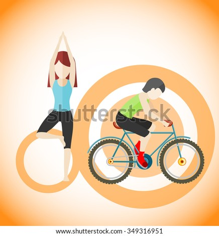 Yoga and cycling sport concept design. Meditation and fitness, yoga poses, exercise and zen, cycling race, cyclist on mountain bike, healthy activity man, human body aerobic. Raster version - stock photo
