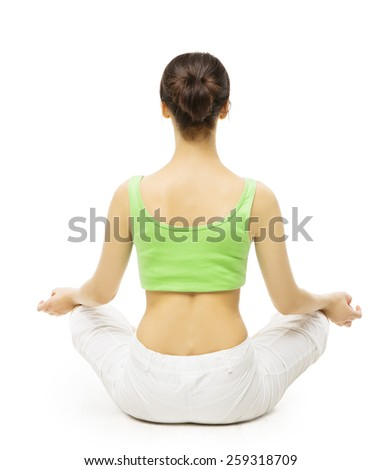 Yoga Back Side, Woman Meditating in Lotus Position. Female Rear View, Meditation Isolated Over White Background - stock photo