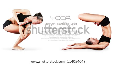 Yoga background. Girl doing yoga poses - twisted chair pose  and standing on shoulders with legs lotus position - stock photo