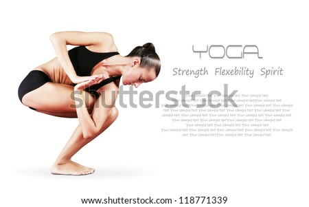 Yoga background.Girl in twisted chair yoga position