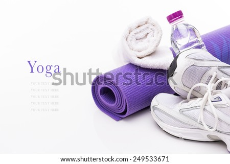 Yoga Background isolated on white with copy space - stock photo