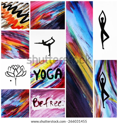 Yoga backgrounds or Creative backgrounds, Yoga symbols, Lotus - stock photo