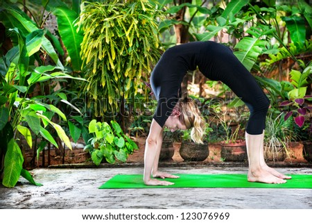 Yoga Chakrasana wheel pose by woman in black costume in the garden with palms, banana trees and plants in the pots - stock photo