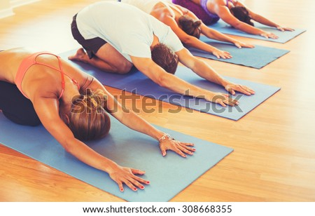 Yoga Class, Group of People Relaxing and Doing Yoga. Child's Pose. Wellness and Healthy Lifestyle. - stock photo