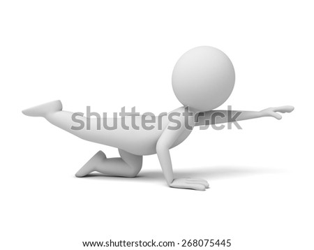 yoga/3d people doing yoga exercise. 3d image. Isolated white background