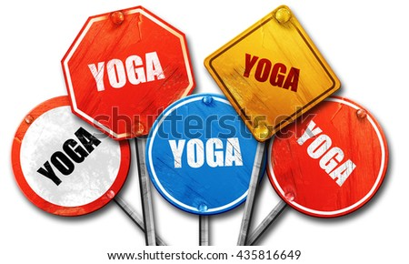yoga, 3D rendering, rough street sign collection