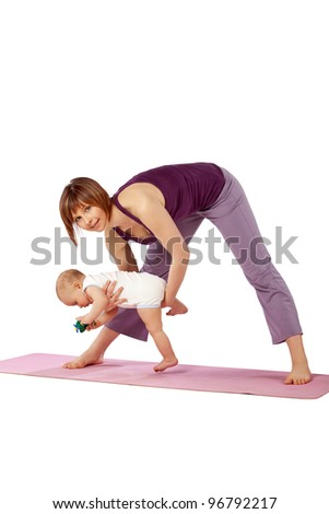 Yoga exercise for woman and the baby