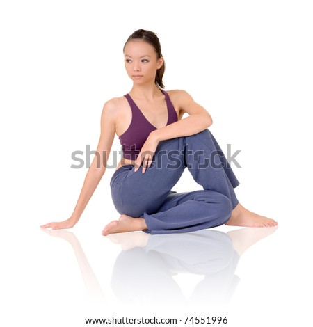 Yoga exercise on ground by Asian girl of fitness, full length portrait isolated on white background. - stock photo