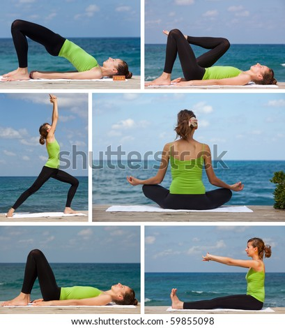 yoga exercises on the beach collage - 6 images - stock photo