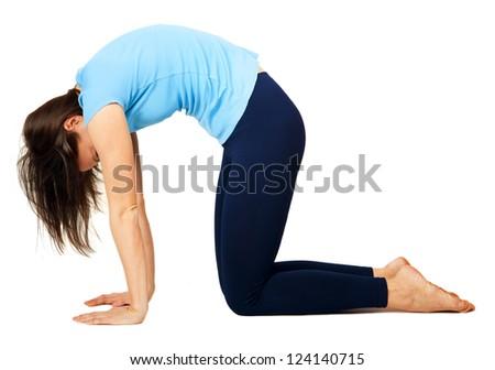 yoga exercising - stock photo