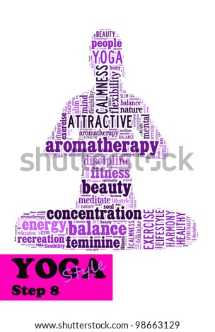 Yoga,fitness & health info text/word cloud/word collage composed in the shape of a girl doing yoga meditation pose (Yoga style step 8) - stock photo