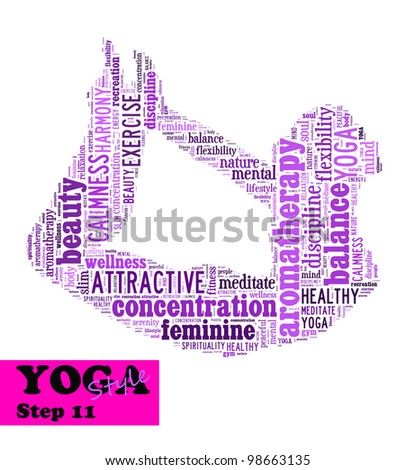 Yoga,fitness & health info text/word cloud/word collage composed in the shape of a girl doing yoga meditation pose (Yoga style step 11) - stock photo