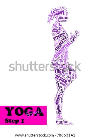 Yoga,fitness & health info text/word cloud/word collage composed in the shape of a girl doing yoga meditation pose (Yoga style step 1) - stock photo