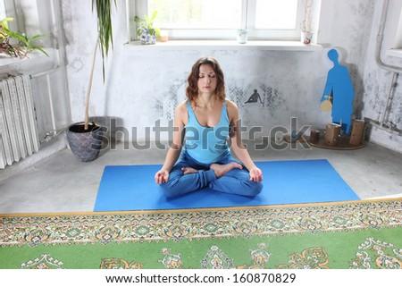 Yoga girl or Yoga classes - stock photo