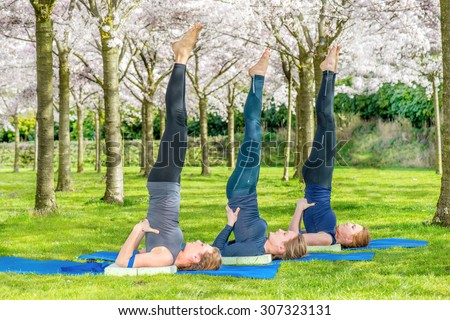 Yoga group practicing salamba sarvangasana (shoulder stand) in a blooming spring park - stock photo
