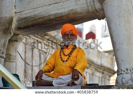 Yoga guru varanasi india - stock photo