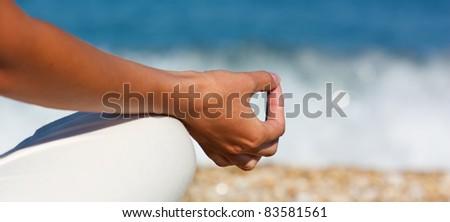 Yoga hand - stock photo