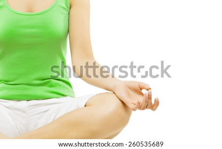 Yoga Hand, Woman Meditation Sitting in Lotus Pose, Isolated Over White Background - stock photo