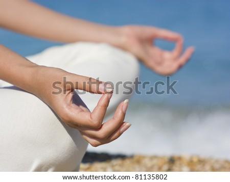 Yoga hands - stock photo