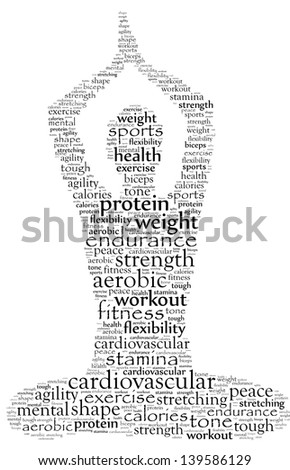Yoga in text graphics - stock photo