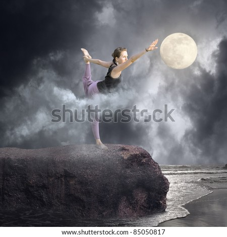 Yoga in the  Moonlight - stock photo
