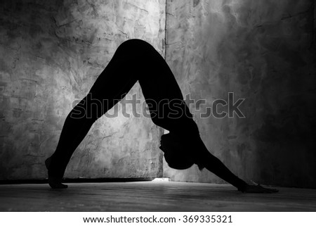 Yoga is life. Monochrome shot of a silhouette of a woman standing in dog position practicing yoga  - stock photo
