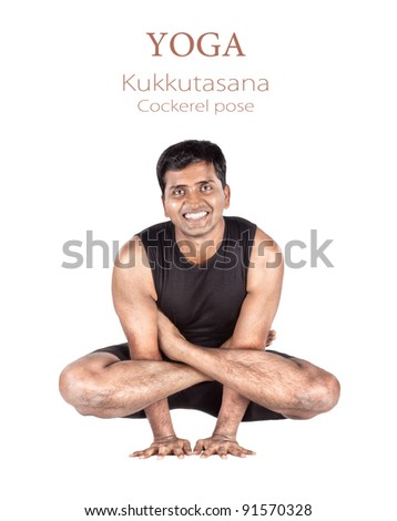 Yoga Kukkutasana cockerel pose by Indian man in black cloth isolated at white background. Free space for text and can be used as template for web-site - stock photo
