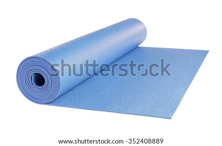 Yoga mat blue color isolated on white background, includes clipping path. - stock photo
