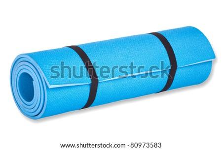 yoga mat isolated on white - stock photo
