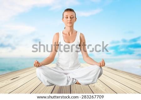 Yoga, Meditating, Women. - stock photo