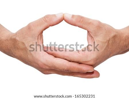 Yoga meditation hands isolated on white background - stock photo