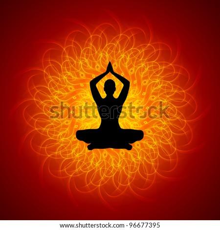 Yoga - Meditation on Mandala Background - stock photo