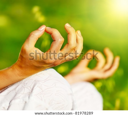 Yoga meditation outdoor, healthy female in peace, soul and mind zen balance concept - stock photo