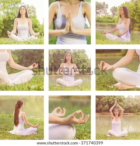 Yoga Meditation Relax Young Woman Outdoor. Collage of Healthy Lifestyle in nature.