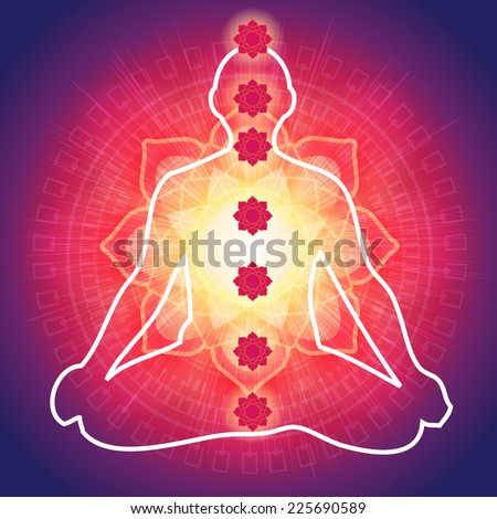Yoga Meditation with 7 Chakras - Illustration - stock photo
