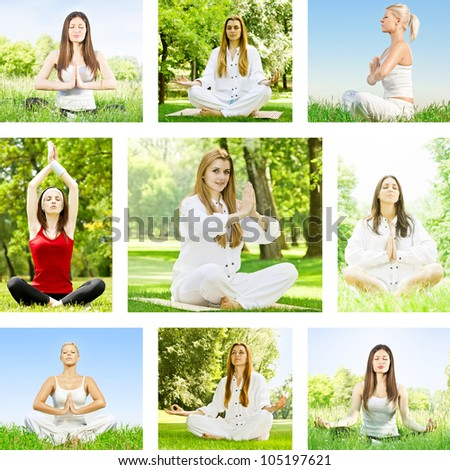 Yoga meditation woman outdoor collection. - stock photo