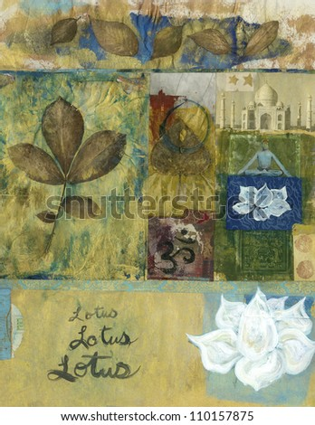 Yoga mixed media art collage with leaves and lotus blossoms and the Taj Mahal. - stock photo