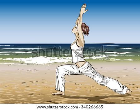 Yoga on a beach. Raster version  - stock photo