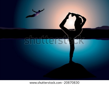 Yoga on a rock that is hanging over a lake with a man jumping into the water - stock photo