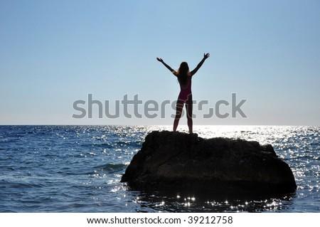 yoga on the beach, women - stock photo