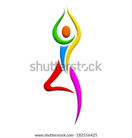 Yoga Person standing pose. Colorful People shape - stock photo